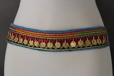 Women Ethnic Fashion Black Tie Band Belt Bead Indian Native Gold Coins Charms M