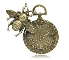 5 Bronze Tone Bee Clock Charms Pendants 4.2x4.2cm