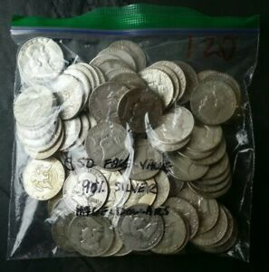 Bag of 100 50c Silver Half Dollars