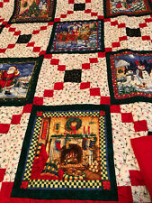 "Christmas quilt, 60"" x 60"" Log cabin panels, 8 Christmas scenes, A111"