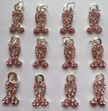 12 Breast Cancer Awareness Pink Rhinestone Ribbon Charms Jewelry Making R6