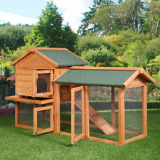 """Deluxe 58"""" Wooden Chicken Coop Hen House Poultry Cage Hutch Built Nesting In Run"""