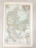 1898 Antik Map Of Dänemark Färöer Baltic Sea Original Alte 19th Jahrhundert