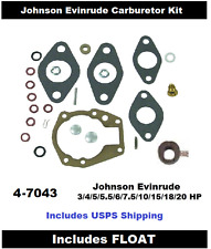 Johnson Evinrude Carburetor Carb Kit 3 4 5 5.5 6 HP 439071 with Float See Chart