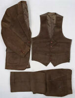 "sears vintage 80s brown 3-piece 12 wale corduroy collection suit 40r 30"" x 31"""