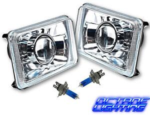 """4X6"""" Projector Crystal Clear Lens / Metal Headlight H4 Light Bulb Headlamp Pair"""