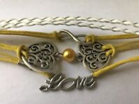 Infinity Love Heart Charms Braided bracelet Yellow White Womens Jewelry 7.5""