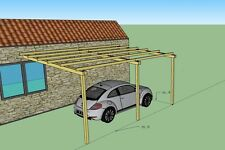 Pergola addossata 6x4 tettoia pensilina in legno impregnato in autoclave