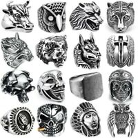 Tiger Stainless steel steam ram Men punk ring Rhombus Powerful Skull Band gothic