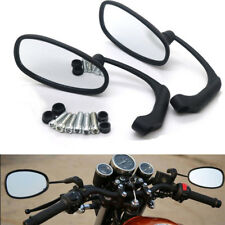 1 Pair Racing Motorcycle Rear View Side Mirror Handle Bar End L-bar Retro Oval