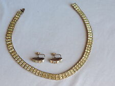 Vintage Yellow Bezel Art Deco Rhinestone Necklace Earrings Jewelry Set (hh717)