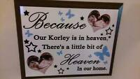 Personalised Memorial Plaque with Mahogany Edge - Remembrance Gift