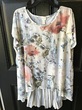 New Rare Chico's Free Floral Pleated Woven Back Tunic Top Shirt 3 = XL 16 18 NWT