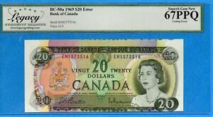 $20 1969 Bank of Canada Note EM Prefix - Cutting Error - Legacy Superb UNC-67PPQ