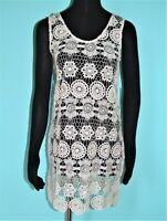 NEW J. Valdi Ivory Crochet/Lace Beach Swimsuit Cover Up Tunic Sleeveless Shirt