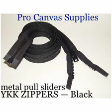 """6 YKK Zippers 30"""" Black #10 Metal Pull with Free Top Stops"""