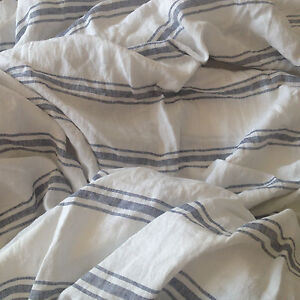 French Pre washed Pure Linen bedding Fitted Sheet Blue White Stripes King Queen