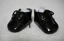 "Fits 19"" Toni P-92 Ideal Doll - Black Patent Leather Doll Tie Shoes - D1347"