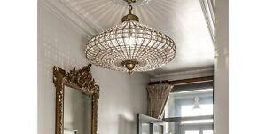 Handmade Bird Cage Basket Crystal Brass Chandelier Beads Ceiling Lighting Decor