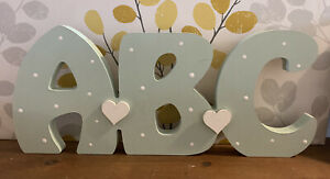 Freestanding Wooden ABC Sign Hand Painted New Baby Gift, Nursery Decoration