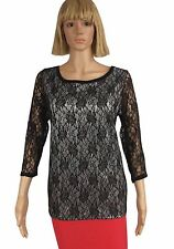 August Silk Size Small Black Silver Floral Lace Sheer 3/4 Sleeve Blouse NEW