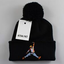 d04b7e0e714 BIG Biggie x Jordan Slam Dunk Roll Up Black Bobble Beanie Hat by Actual Fact