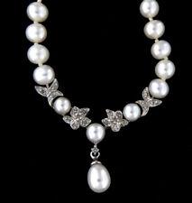"Dazzling Fine Gold Diamond & Pearl Necklace 10k White Gold 18"" Inch"