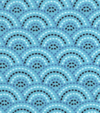 Flannel Fabric PEACOCK DOTTED SCALES - BLUE Pattern 3 yds X 42 in 100% Cotton