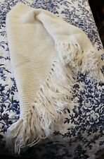 Cream Hand Knitted Shawl with Fringe