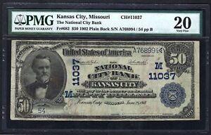 MO 1902 $50 ♚♚KANSAS CITY, MISSOURI♚♚  PMG VF 20   LOW S/N: 54