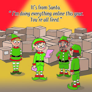 Merry Christmas Card with Online Shopping - Xmas Card -Funny Christmas Card -Elf