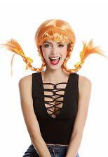 Perücke Damenperücke Karneval Freche Göre Lolita steife geflochtene Zöpfe orange