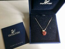 Fabulous Genuine Swarovski Red Apple Pendant Necklace In Box With Certificate .