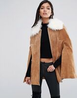 River Island real suede cape Size 12 Coat Parka Jacket Autumn Winter Leather Fur