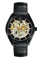 Rotary Hombres Automático GS03630/04 Esqueleto Chapado Negro Suizo Reloj Nuevo
