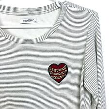 Lauren Moshi Long Sleeve Knit Top Womens M Heart Chains Patch Thumbholes Striped