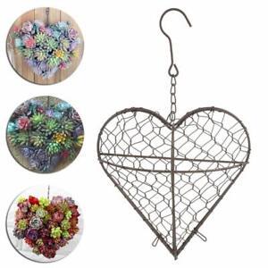 Hanging Heart Shape Flower Plant Basket Pot Planter Holder Garden Balcony Decor