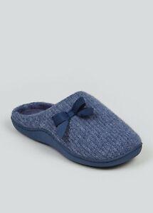 ladies Navy Blue Hidden Support Mule Slippers Sizes 3-8 Nightwear