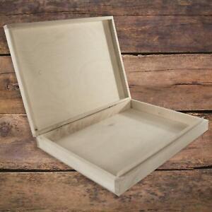 Rectangular Lindenwood Box to Decorate   34.5 x 24.5 x 5 cm   A4 Wooden Case