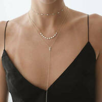 Natural Diamond Drop Chain Necklace in 14k Yellow Gold Handmade Fine Jewelry NEW