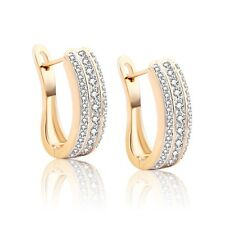 Fashion Womens Jewelry 18K Yellow Gold Filled Sapphire Crystal Hoop Earrings