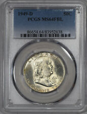 "1949-D 50c Franklin Half Dollar PCGS MS64FBL FULL BELL LINES ""PQ GEM++++"""