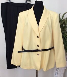 NWT Tahari Women's Yellow/Black 2 Piece Belted Pant Suit Sz 22W, MSRP $320