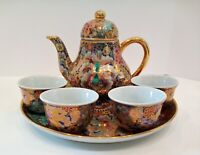 Vintage Miniature Porcelain Chinese Tea/Saki Set with Tray 6 Pieces