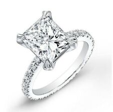 1.80 ctw Natural Radiant Cut Pave Eternity Diamond Engagement Ring
