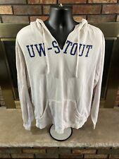 University Wisconsin Stout Blue Devils NCAA Hooded Sweatshirt Mens Size XL Cream