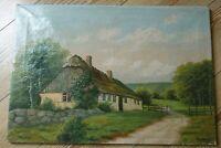 Ölgemälde Bild auf Leinwand signiert C. Balken. Landschaft mit Haus Strohdach