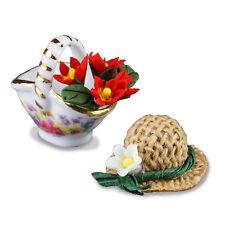 Reutter Porzellan Blumenkörbchen mit Hut / Garden Flower Basket Puppenstube 1:12