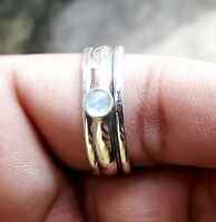 Rainbow Moonstone Solid 925 Sterling Silver Spinner Ring Meditation Ring Size