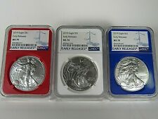 2019  American Silver Eagle  3-Coin Set  NGC Ms 70 , Early Releases R,W & B.